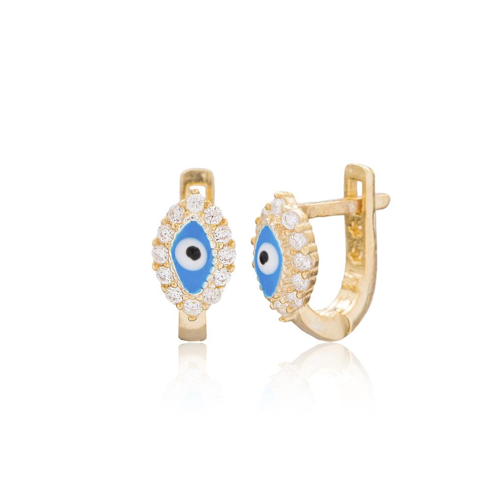 Oval Shape Evil Eye Design For Kid Earrings Turkish Wholesale Handmade 925 Sterling Silver Jewelry