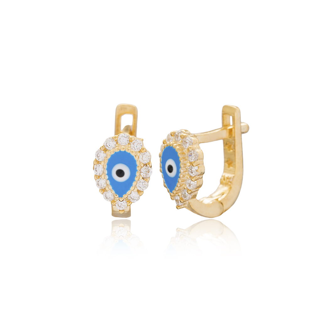 Drop Shape Evil Eye Design For Kid Earrings Turkish Wholesale Handmade 925 Sterling Silver Jewelry