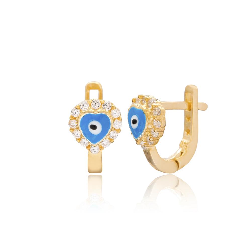 Heart Shape Evil Eye Design For Kid Earrings Turkish Wholesale Handmade 925 Sterling Silver Jewelry