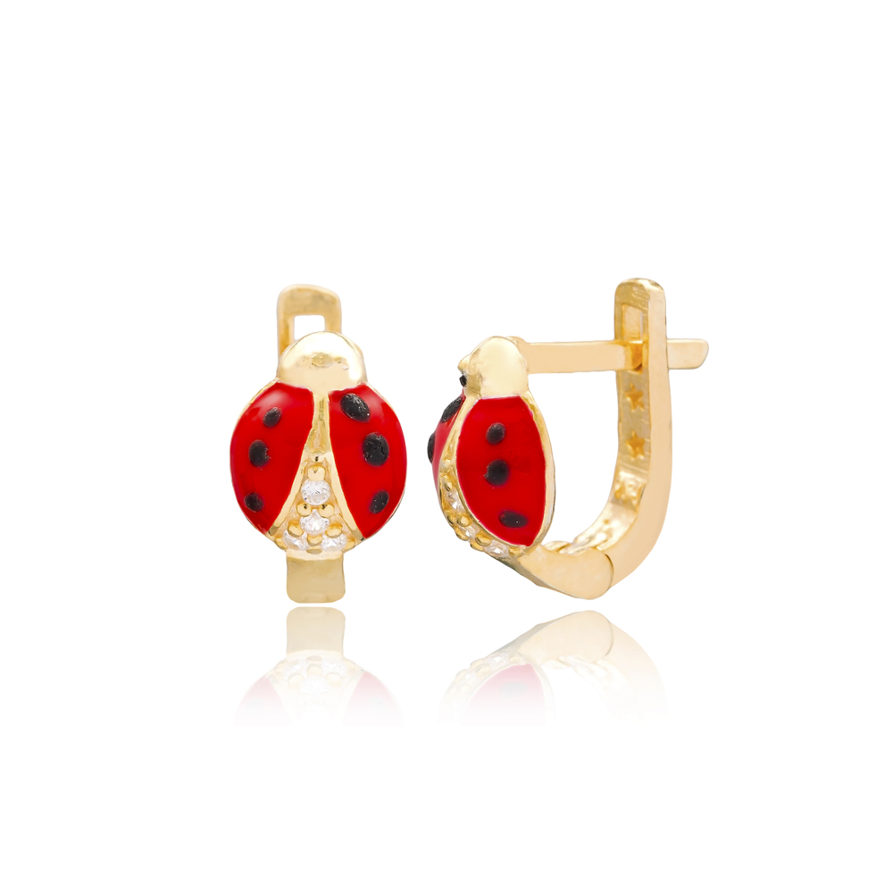 Ladybug Design For Kid Earrings Turkish Wholesale Handmade 925 Sterling Silver Jewelry