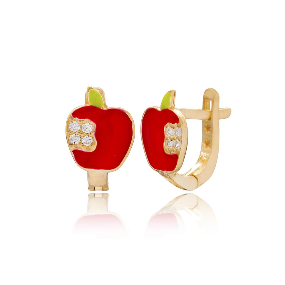 Apple Design For Kid Earrings Turkish Wholesale Handmade 925 Sterling Silver Jewelry