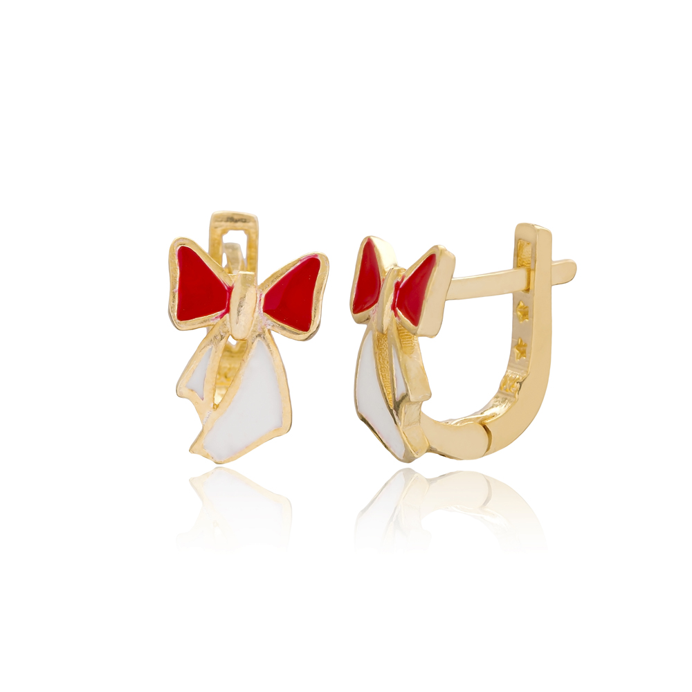 Ribbon Design For Kid Earrings Turkish Wholesale Handmade 925 Sterling Silver Jewelry