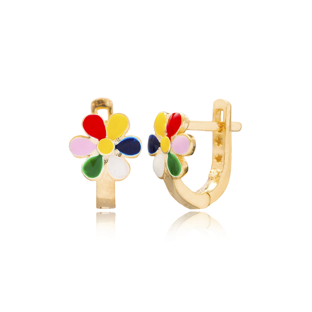 Colorful Flower Design For Kid Earrings Turkish Wholesale Handmade 925 Sterling Silver Jewelry