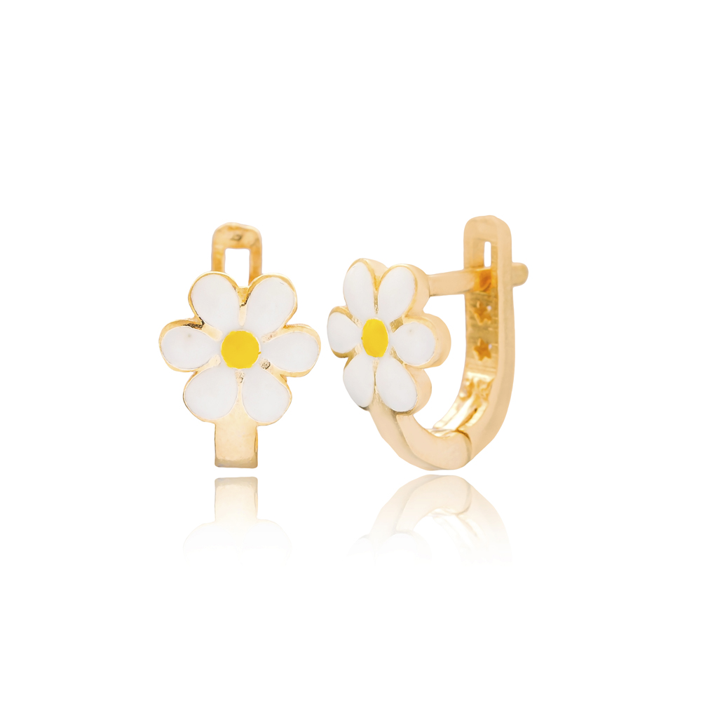 Daisy Design For Kid Earrings Turkish Wholesale Handmade 925 Sterling Silver Jewelry