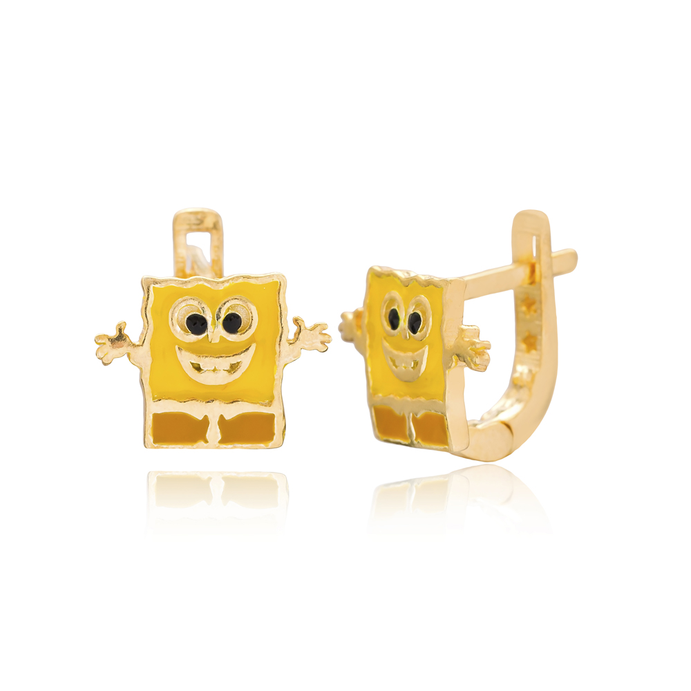 Cartoon Character Design For Kid Earrings Turkish Wholesale Handmade 925 Sterling Silver Jewelry