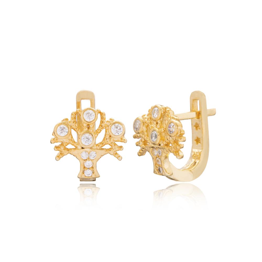 Minimalist Tree of Life Design For Kid Earrings Turkish Wholesale Handmade 925 Sterling Silver Jewelry