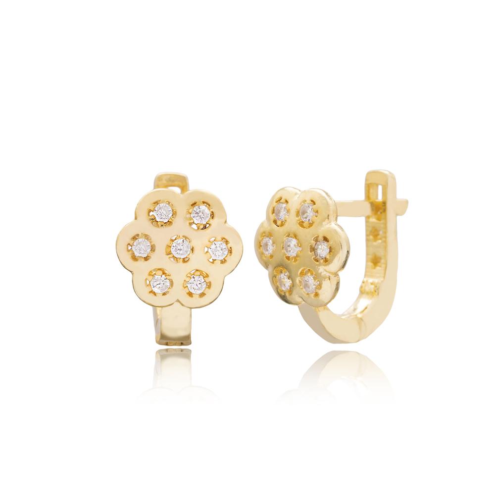 Minimalist Flower Design For Kid Earrings Turkish Wholesale Handmade 925 Sterling Silver Jewelry