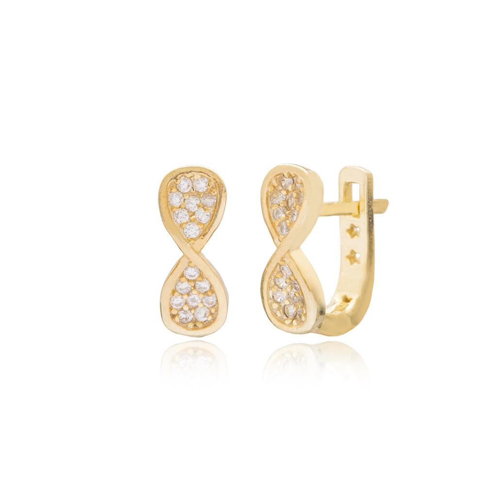 Minimalist Hourglass Design For Kid Earrings Turkish Wholesale Handmade 925 Sterling Silver Jewelry
