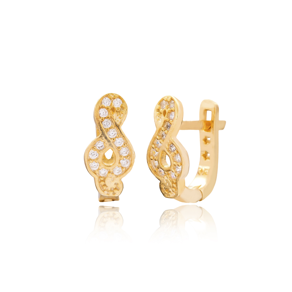 Minimalist Infinity Design For Kid Earrings Turkish Wholesale Handmade 925 Sterling Silver Jewelry