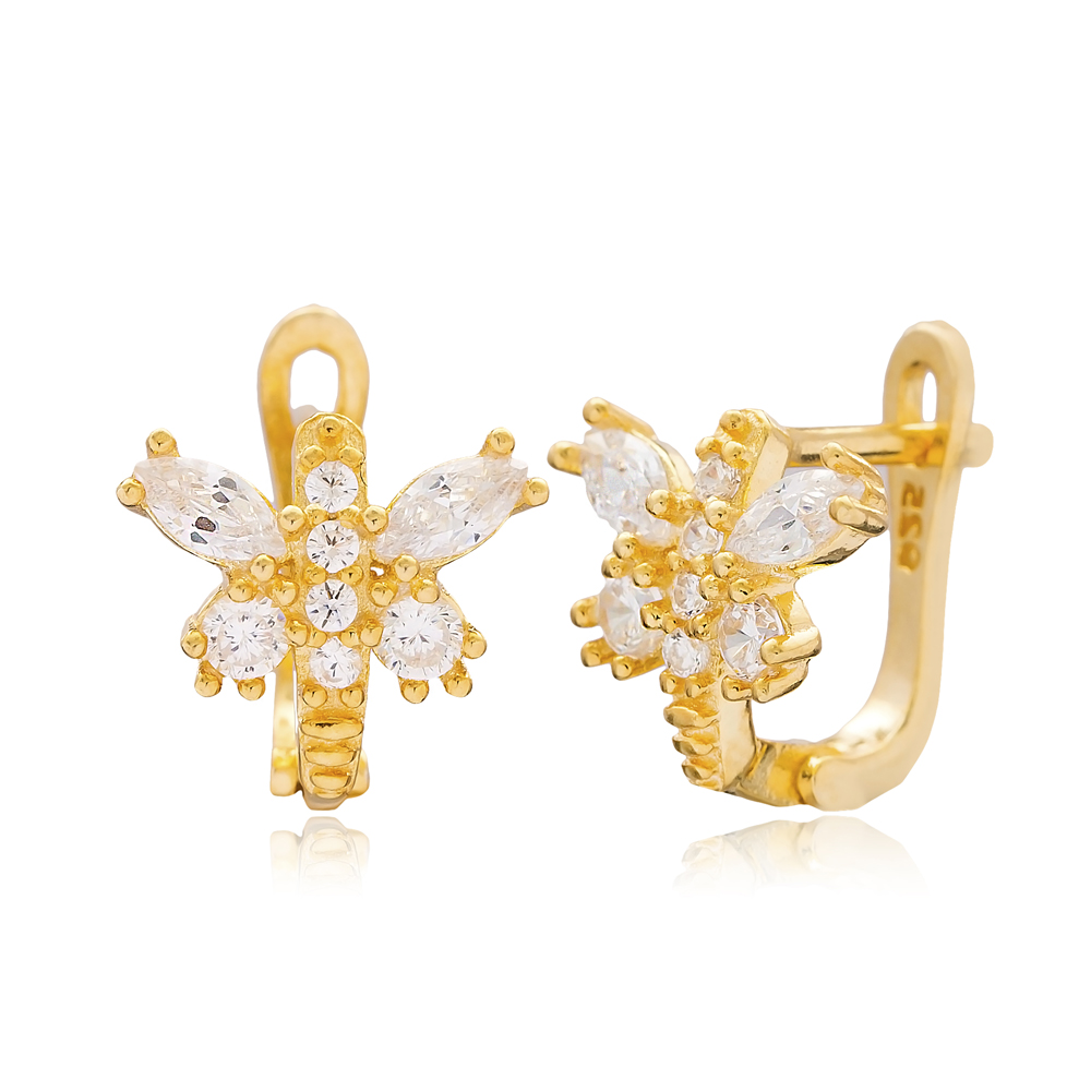 Zircon Stone Butterfly Design Turkish Handmade Wholesale 925 Sterling Silver Jewelry