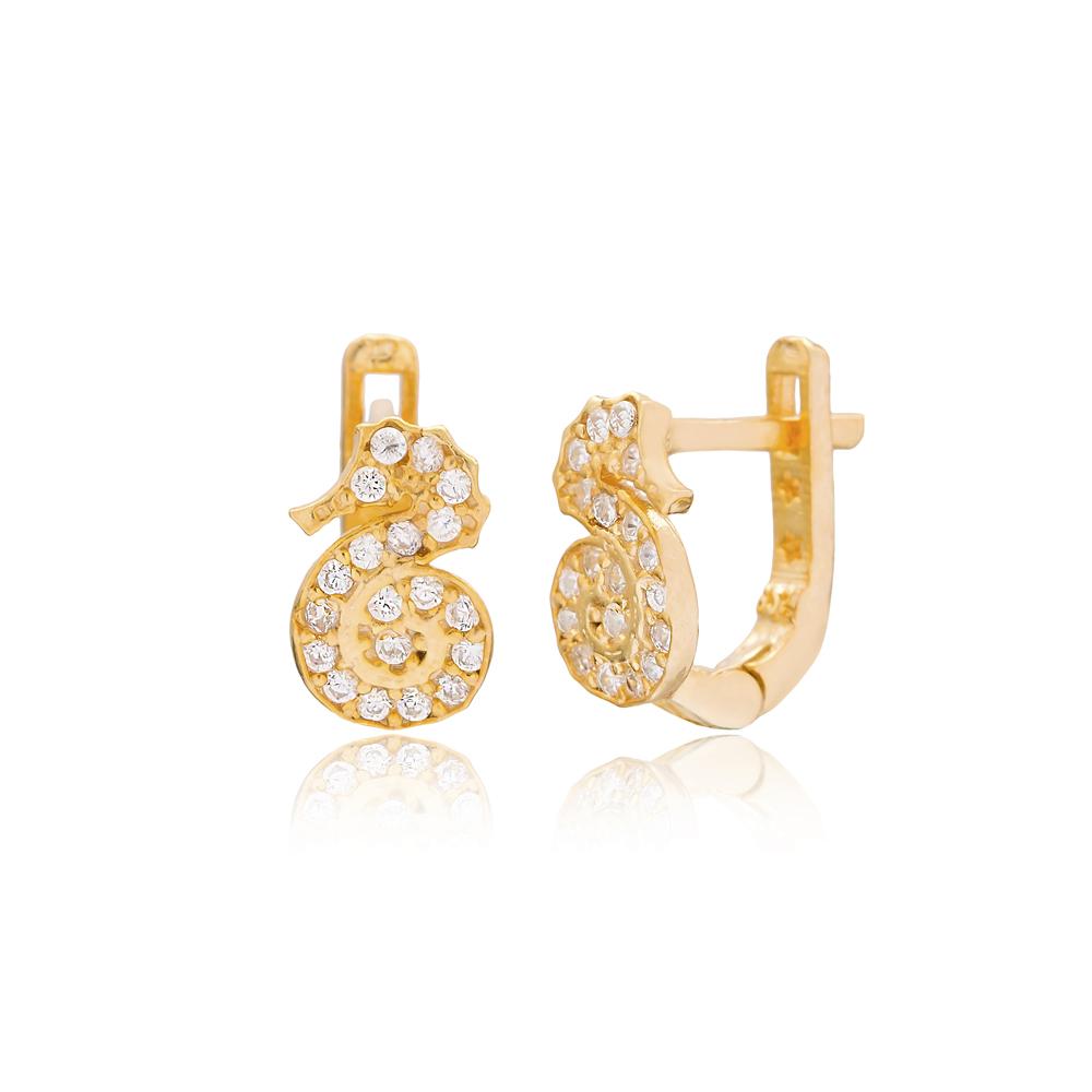 Seahorse Design For Kid Earrings Turkish Wholesale Handmade 925 Sterling Silver Jewelry