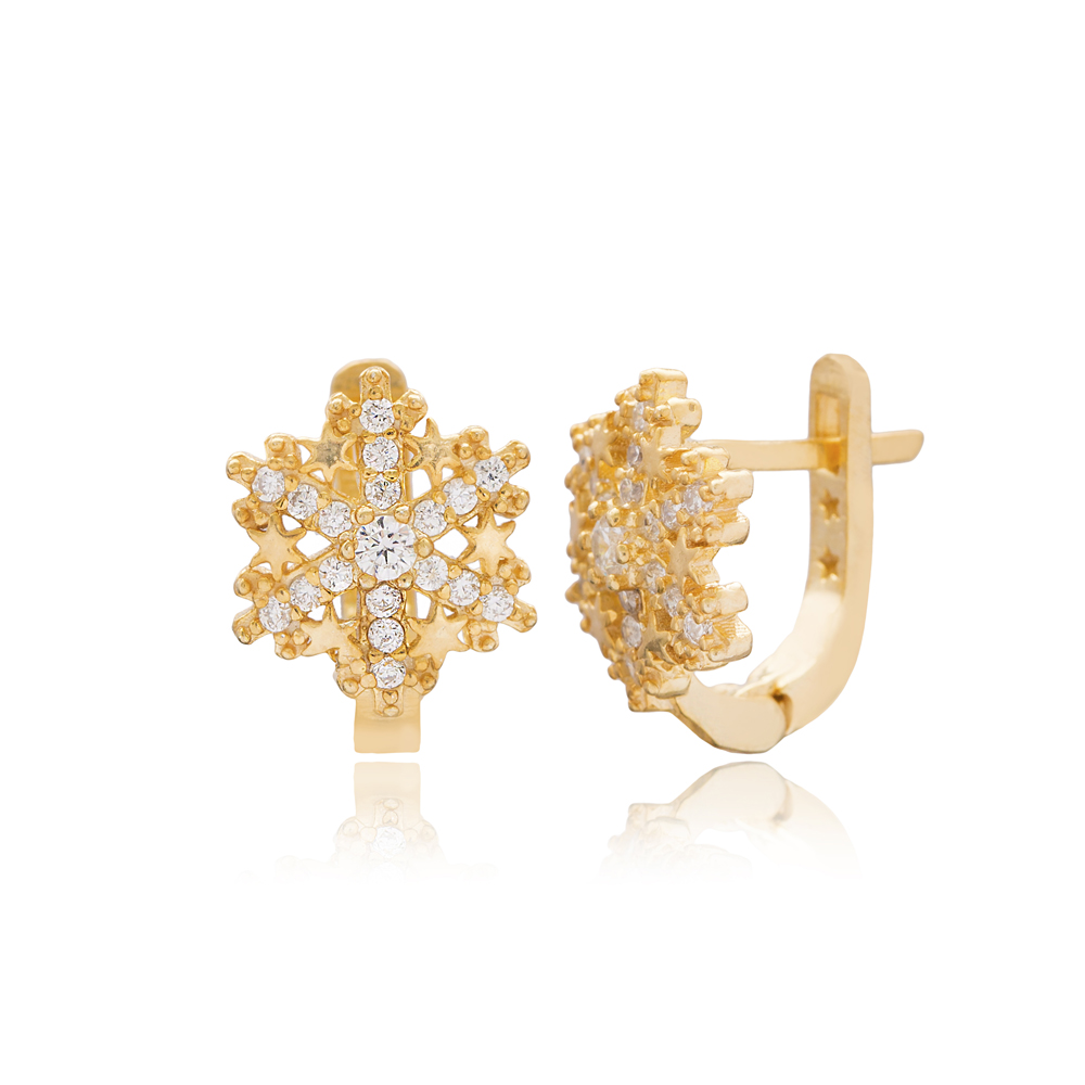 Snowflake Design For Kid Earrings Turkish Wholesale Handmade 925 Sterling Silver Jewelry