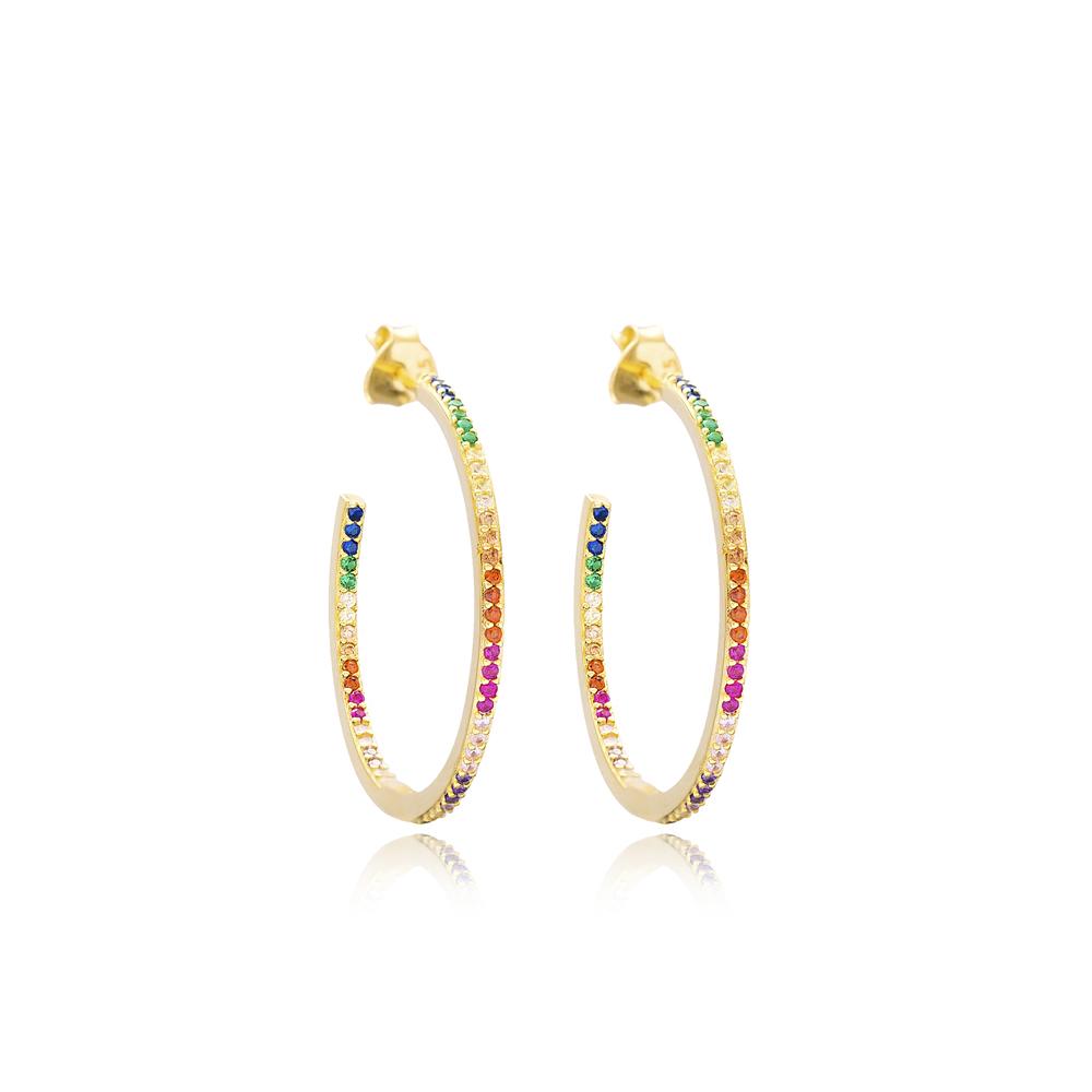 Ø29 mm Size Colorful Stone Hoop Earrings Turkish Handmade Wholesale 925 Sterling Silver Jewelry