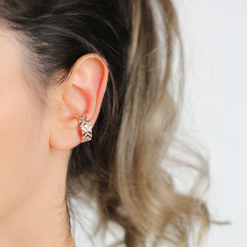 Fashionable Zircon Stone Cartilage Earring Wholesale Turkish 925 Silver Sterling Jewelry
