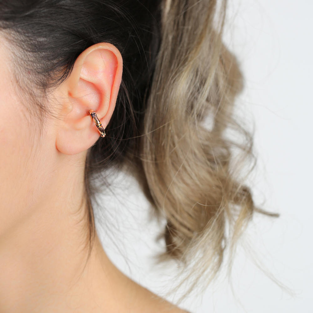Ø19 mm Sized Colorful Stone Trendy Cartilage Earring Wholesale Turkish 925 Silver Sterling Jewelry