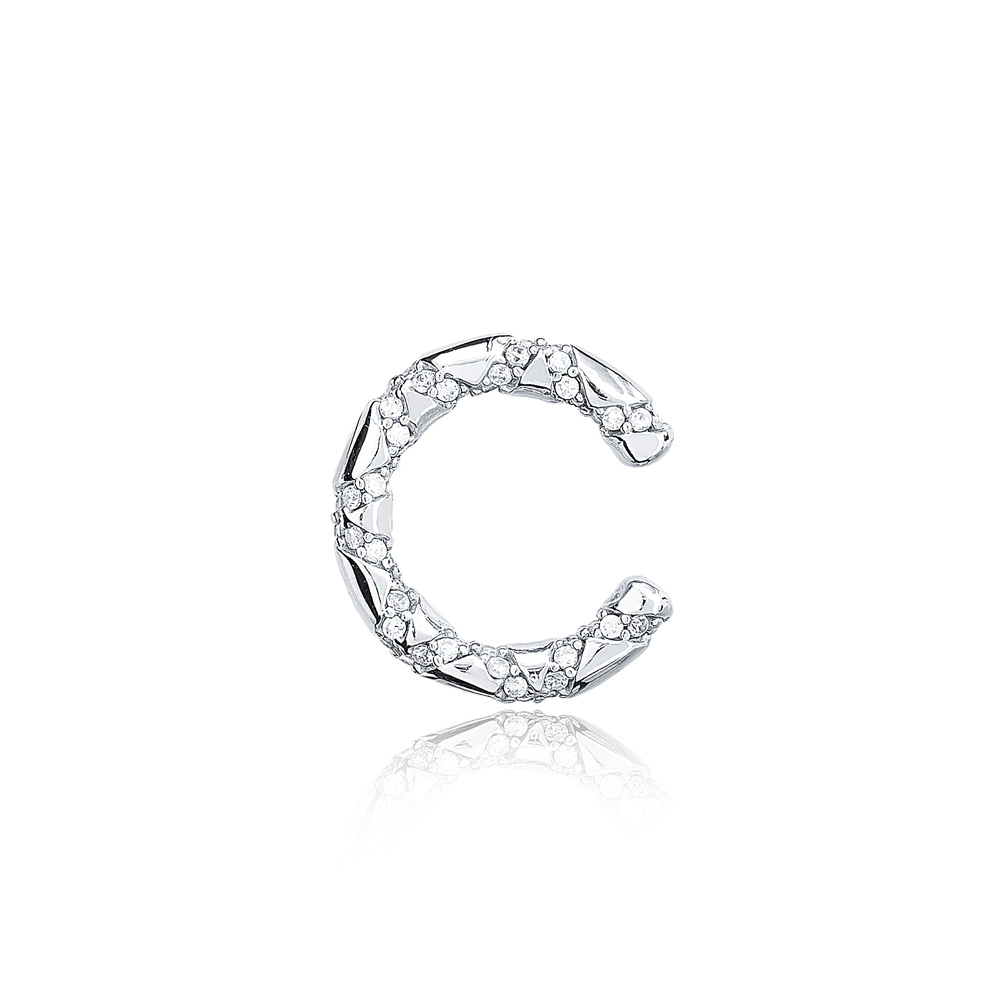 Ø19 mm Sized Zircon Stone Fashionable Cartilage Earring Wholesale Turkish 925 Silver Sterling Jewelry