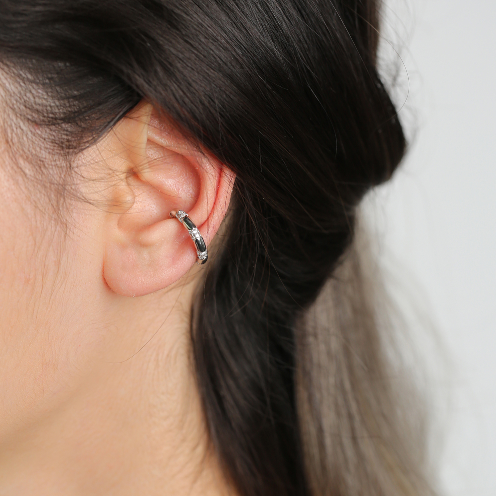 Ø19 mm Sized Zircon Stone Fashionable Cartilage Earring Wholesale Turkish 925 Silver Sterling Jewelry