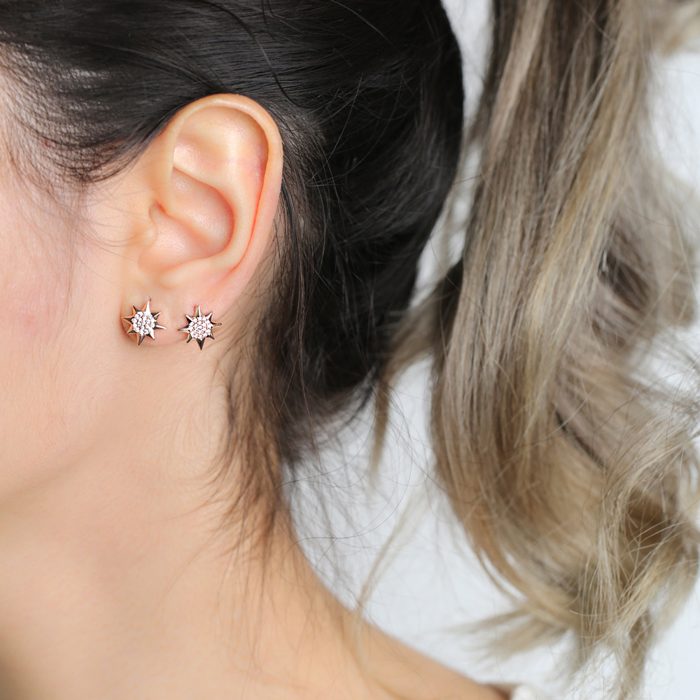 North Star Design Zircon Stone Stud Earrings Wholesale Turkish Handmade 925 Sterling Silver Jewelry