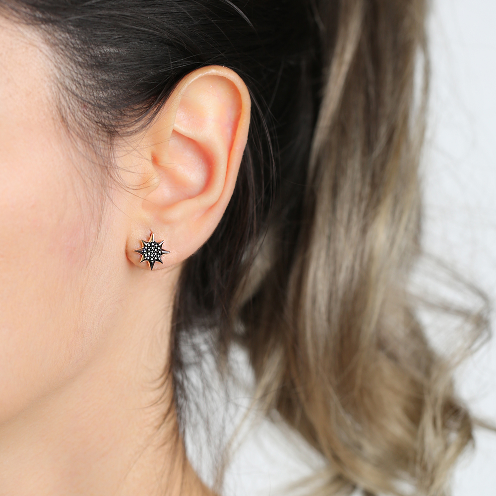 North Star Design Black Zircon Stone Stud Earrings Wholesale Turkish Handmade 925 Sterling Silver Jewelry