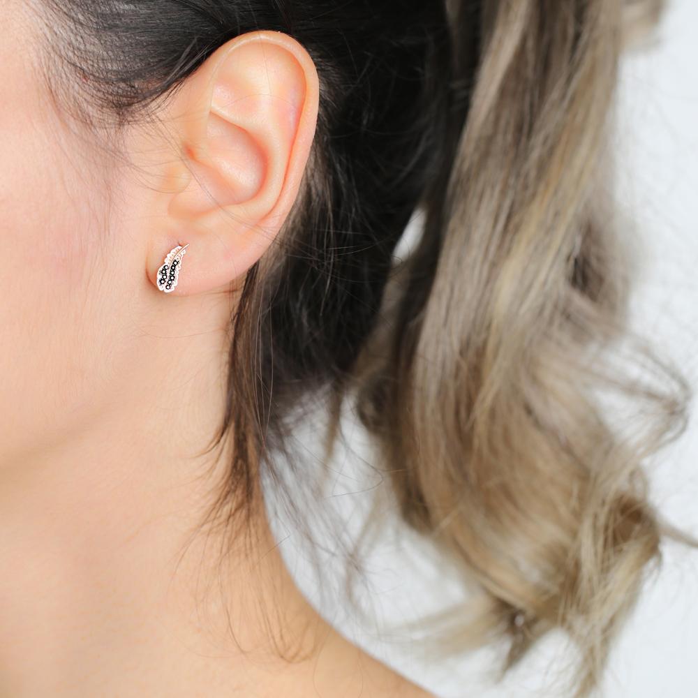 Minimalist Leaf Design Stud Earrings Wholesale Turkish Handmade 925 Sterling Silver Jewelry