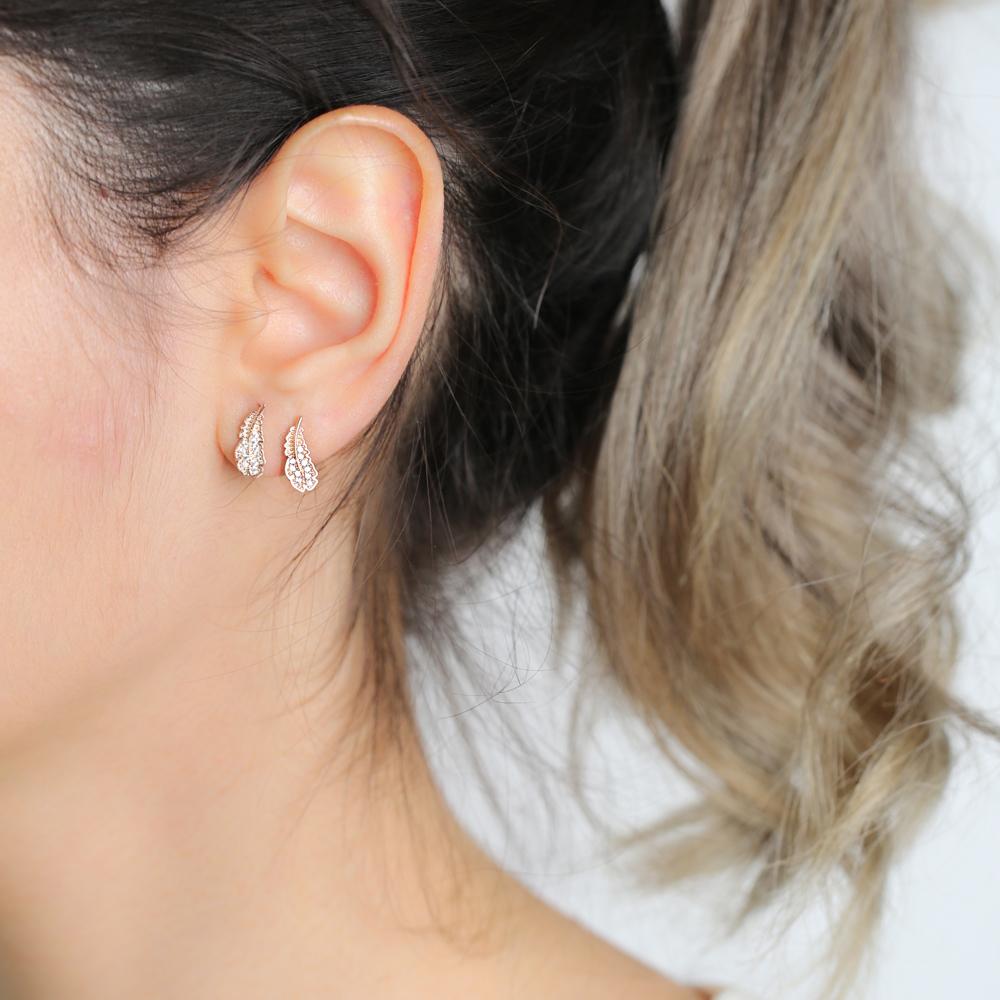 Fashionable Minimalist Leaf Design Stud Earrings Wholesale Turkish Handmade 925 Sterling Silver Jewelry