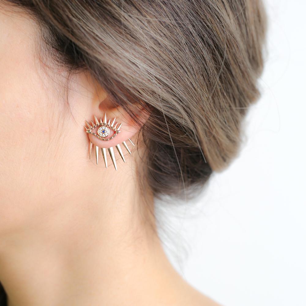 Unique Evil Eye Design Stud Earrings Wholesale Turkish Handmade 925 Sterling Silver Jewelry