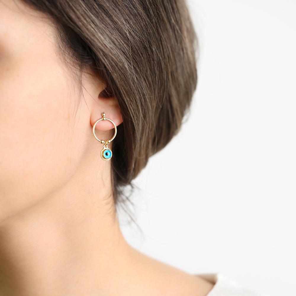 Ringed Evil Eye Design Stud Earrings Wholesale Turkish Handmade 925 Sterling Silver Jewelry