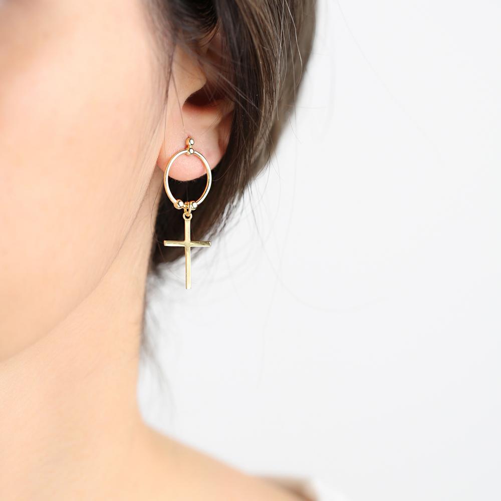 None Stone Ringed Cross Design Stud Earrings Wholesale Turkish Handmade 925 Sterling Silver Jewelry