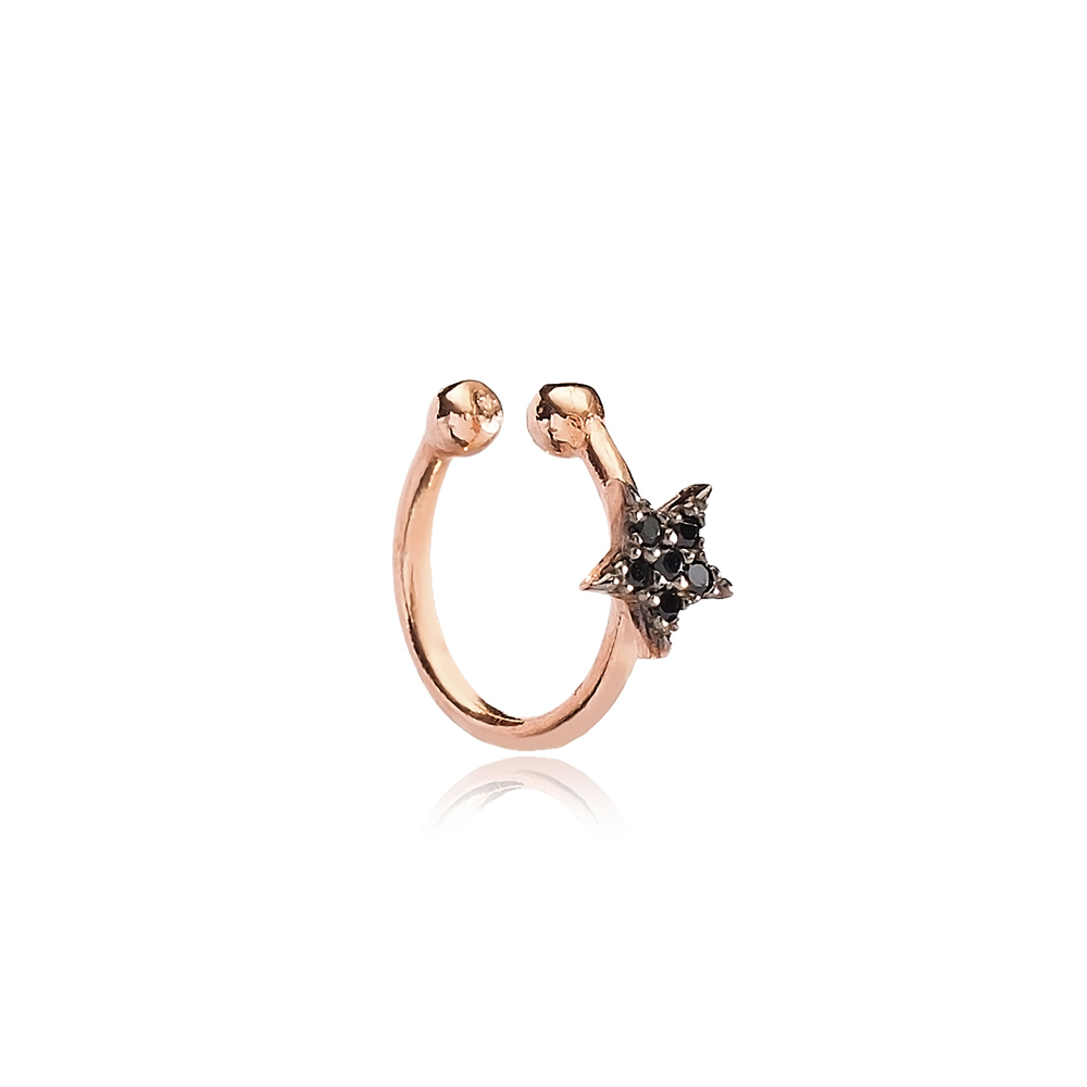 Black Zircon Star Design Cartilage Earring Handcrafted Wholesale Turkish 925 Silver Sterling Jewelry