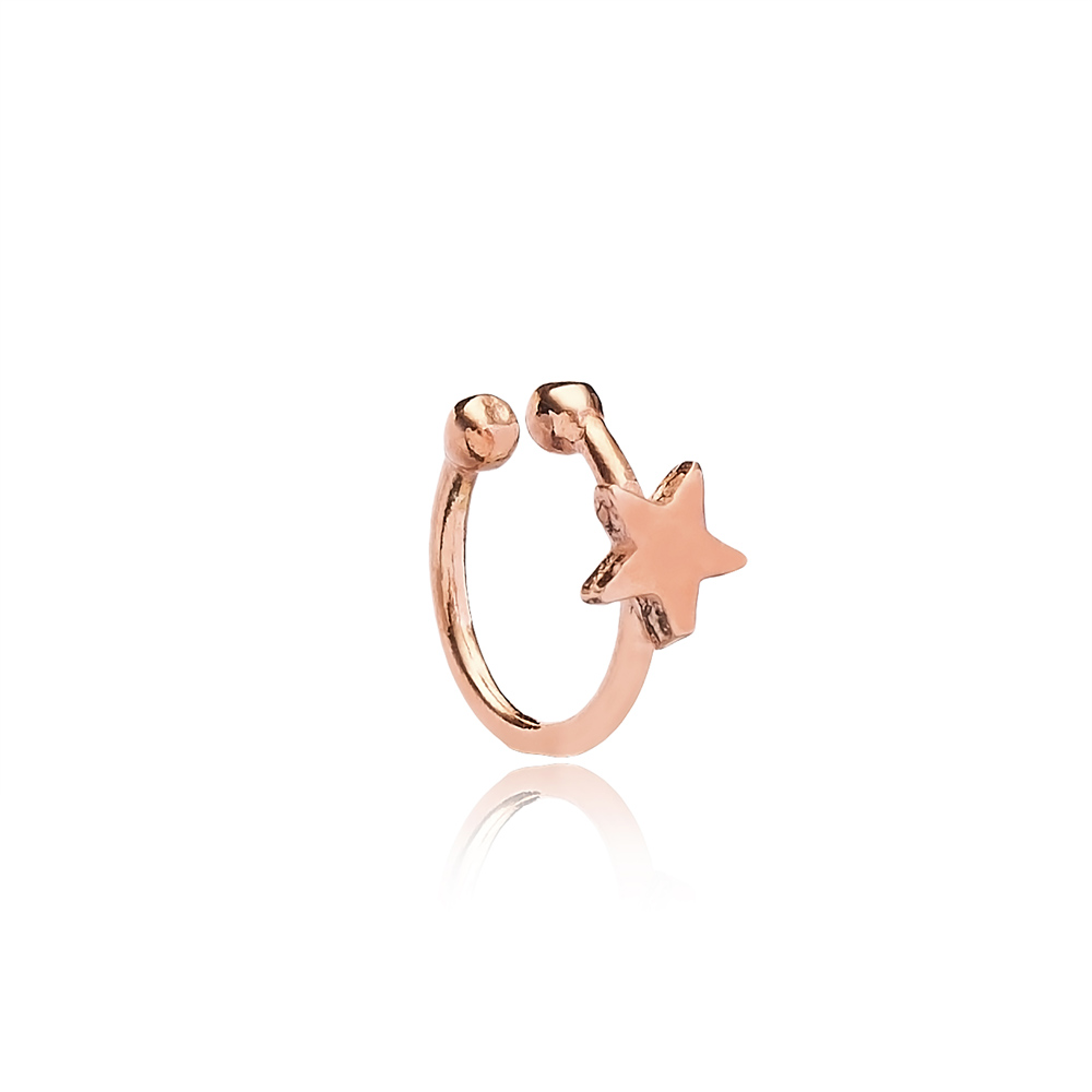 Plain Star Design Cartilage Earring Handcrafted Wholesale Turkish 925 Silver Sterling Jewelry