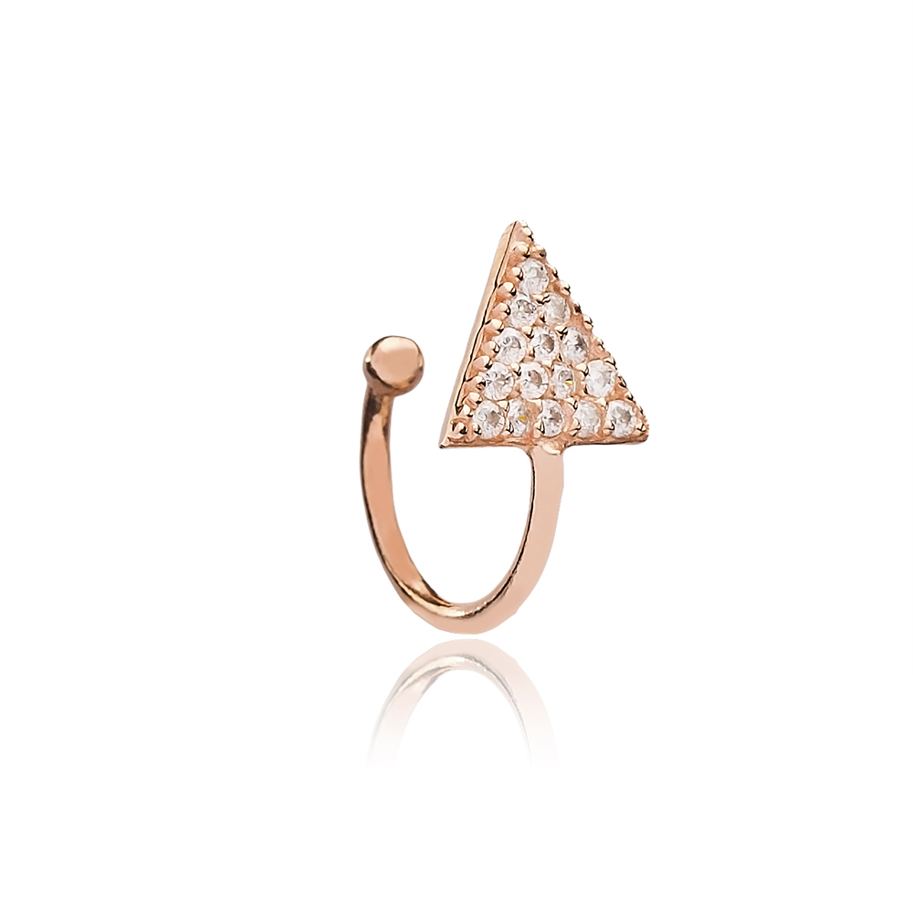 Triangle Design Zircon Cartilage Earring Handcrafted Wholesale Turkish 925 Silver Sterling Jewelry