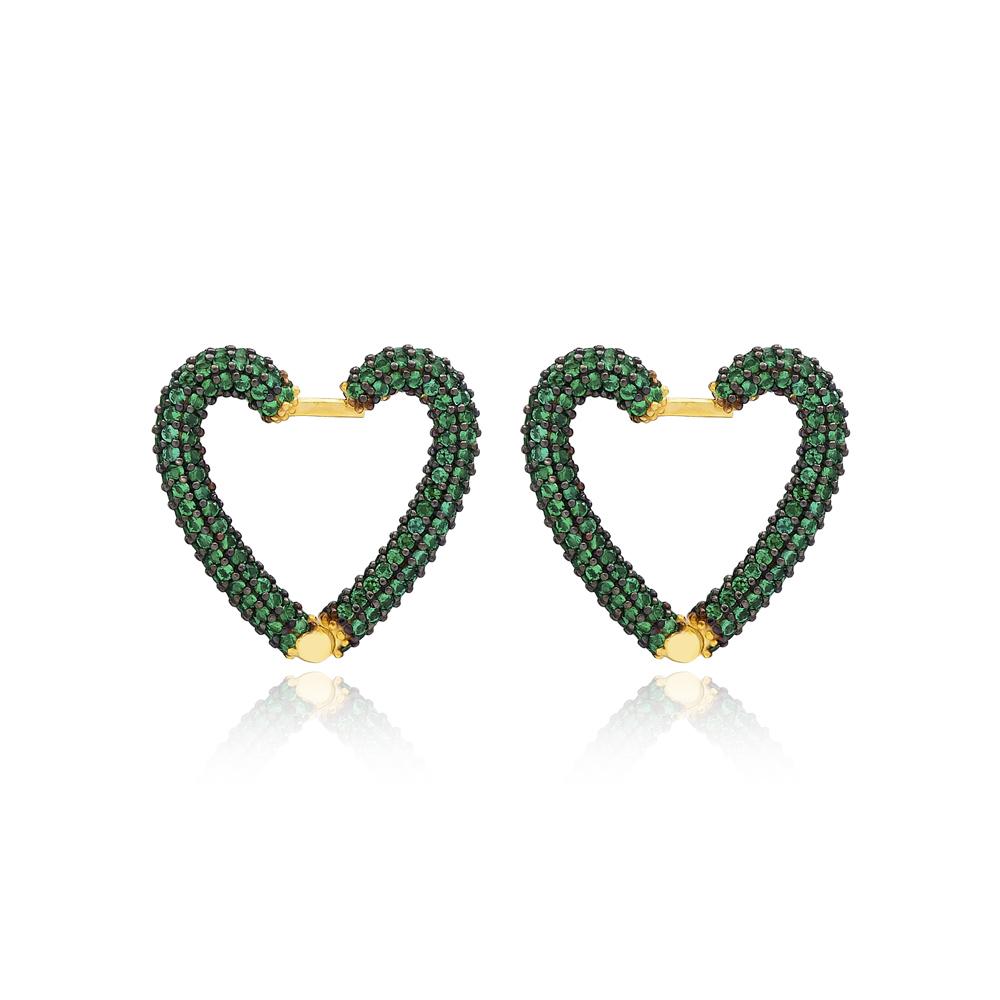 Emerald New Trend Heart Earrings Wholesale Turkish Handmade 925 Sterling Silver Jewelry