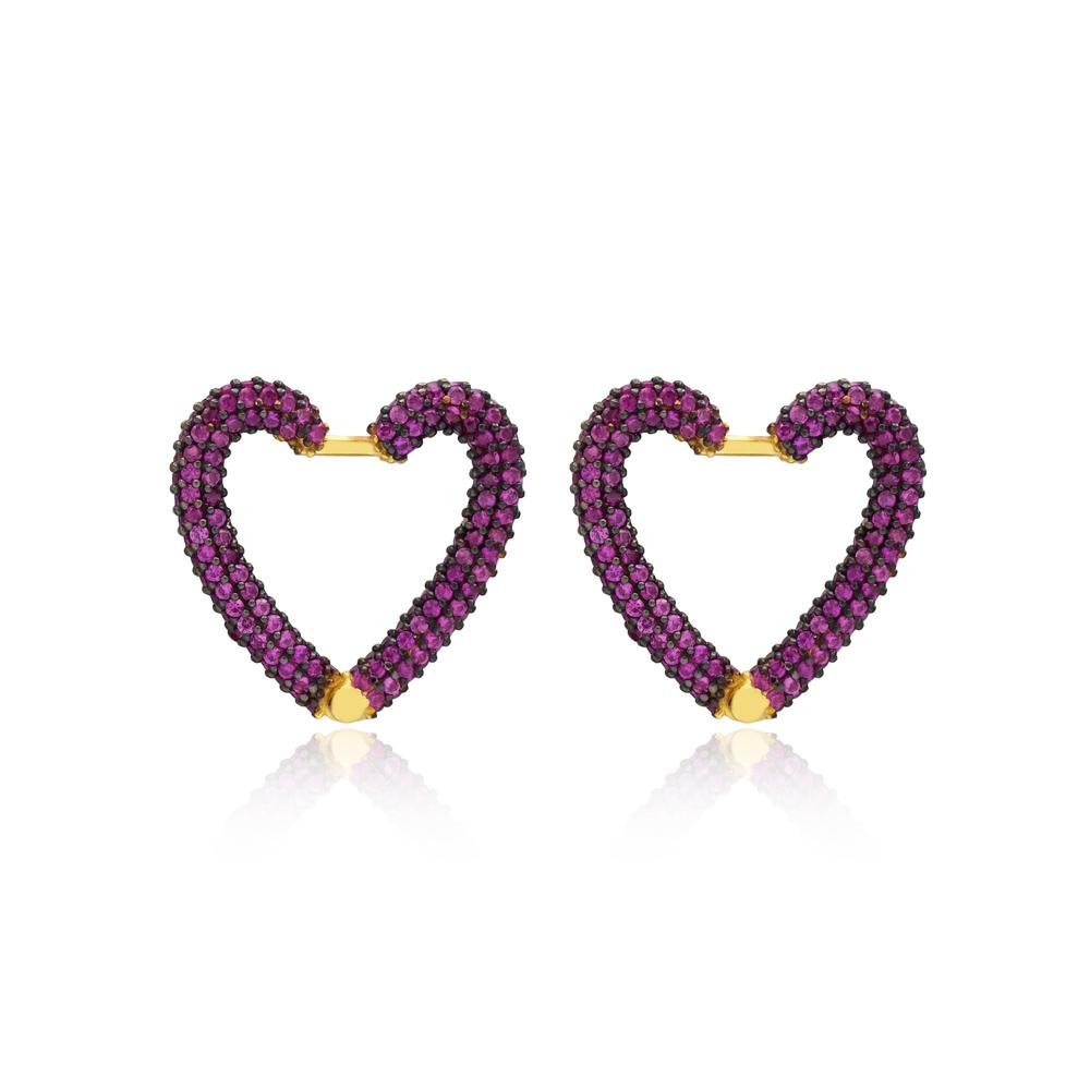 Ruby New Trend Heart Earrings Wholesale Turkish Handmade 925 Sterling Silver Jewelry