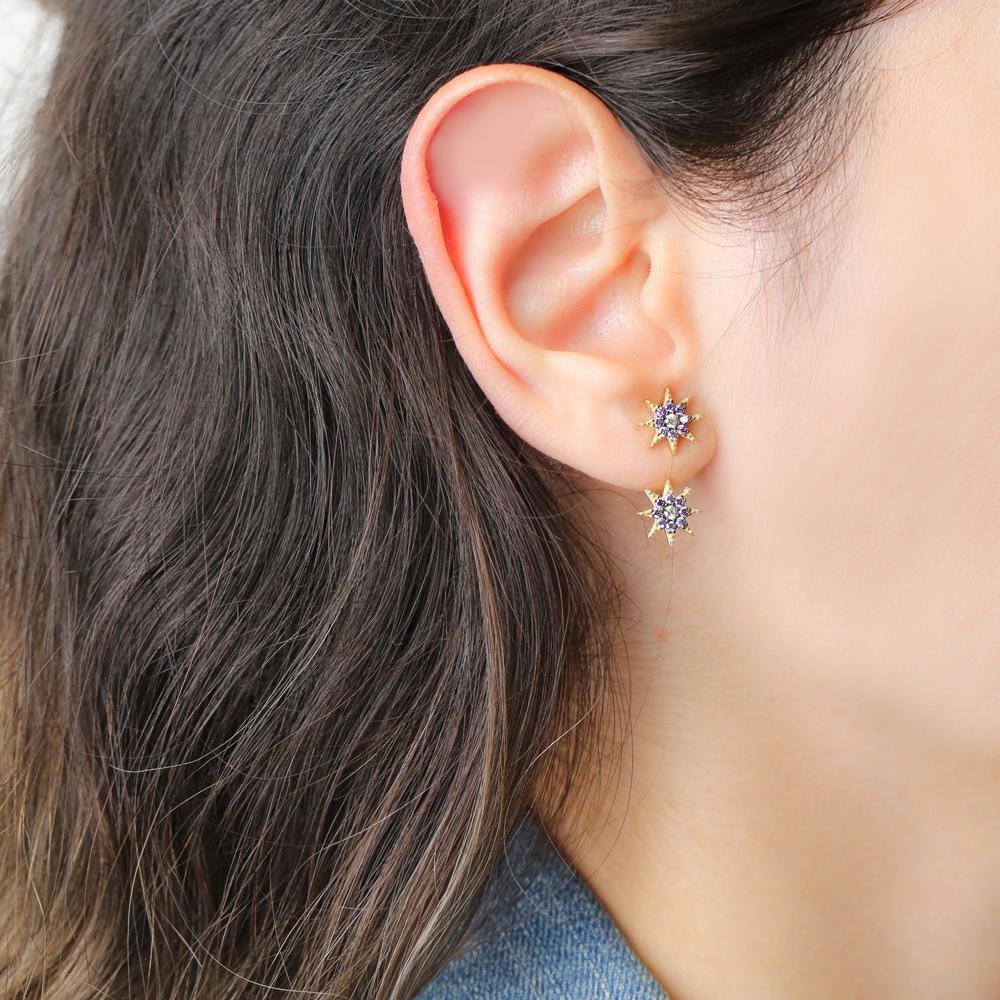 Amethyst Stone Zircon Design Stud Earring Handcrafted Wholesale Turkish 925 Silver Sterling Jewelry