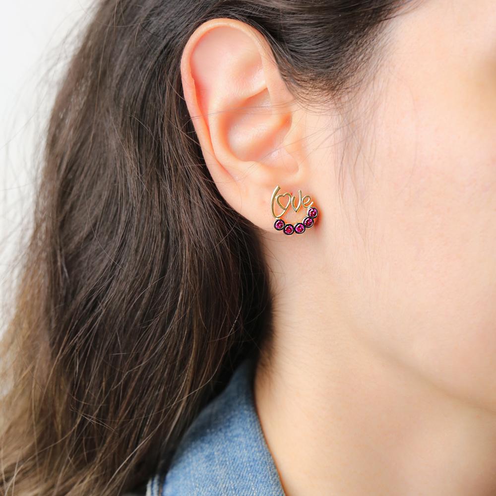 Love Letter Design Garnet Stone Earring Handmade Turkish Wholesale 925 Sterling Silver Jewelry
