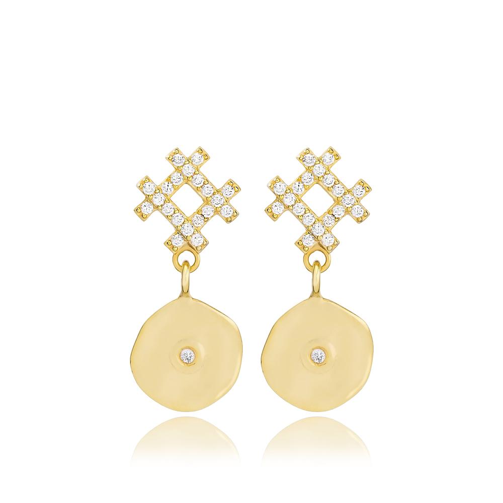 Stud Disk Earring Wholesale Handmade 925 Sterling Silver Jewelry