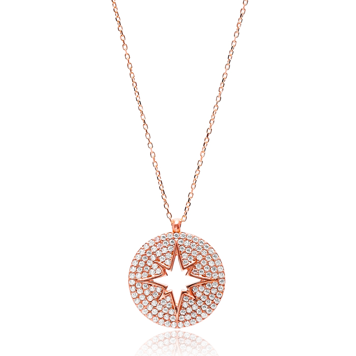 Round Turkish Wholesale Sterling Silver Zircon Pendant