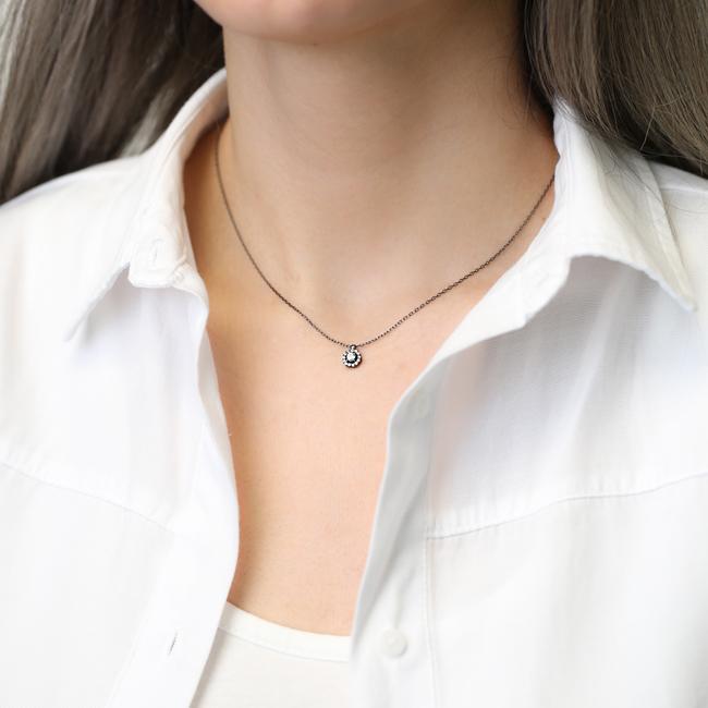 Tiny Round Design Black Pendant Turkish Wholesale Silver Jewelry