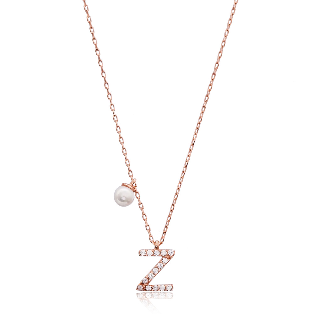 Initial Alphabet letter Z Charm Pendant. Wholesale 925 Sterling Silver Jewelry
