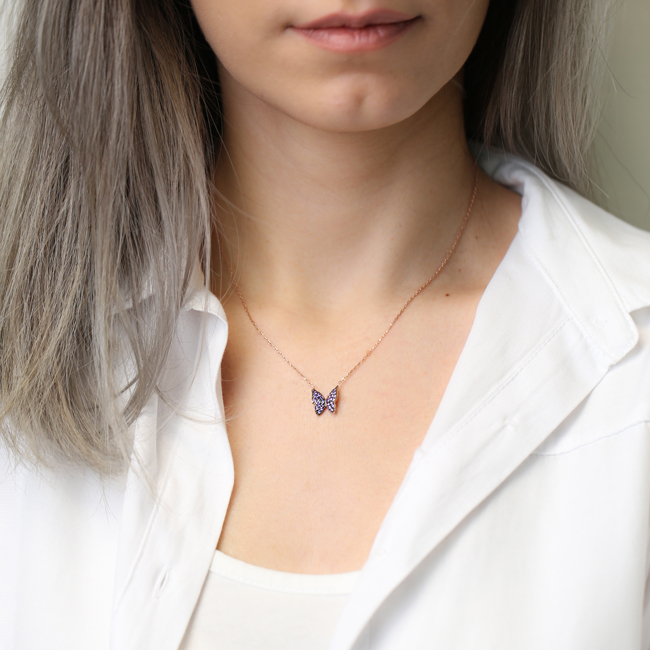 Butterfly Design Amethyst Turkish Handmade 925 Sterling Silver Jewelry