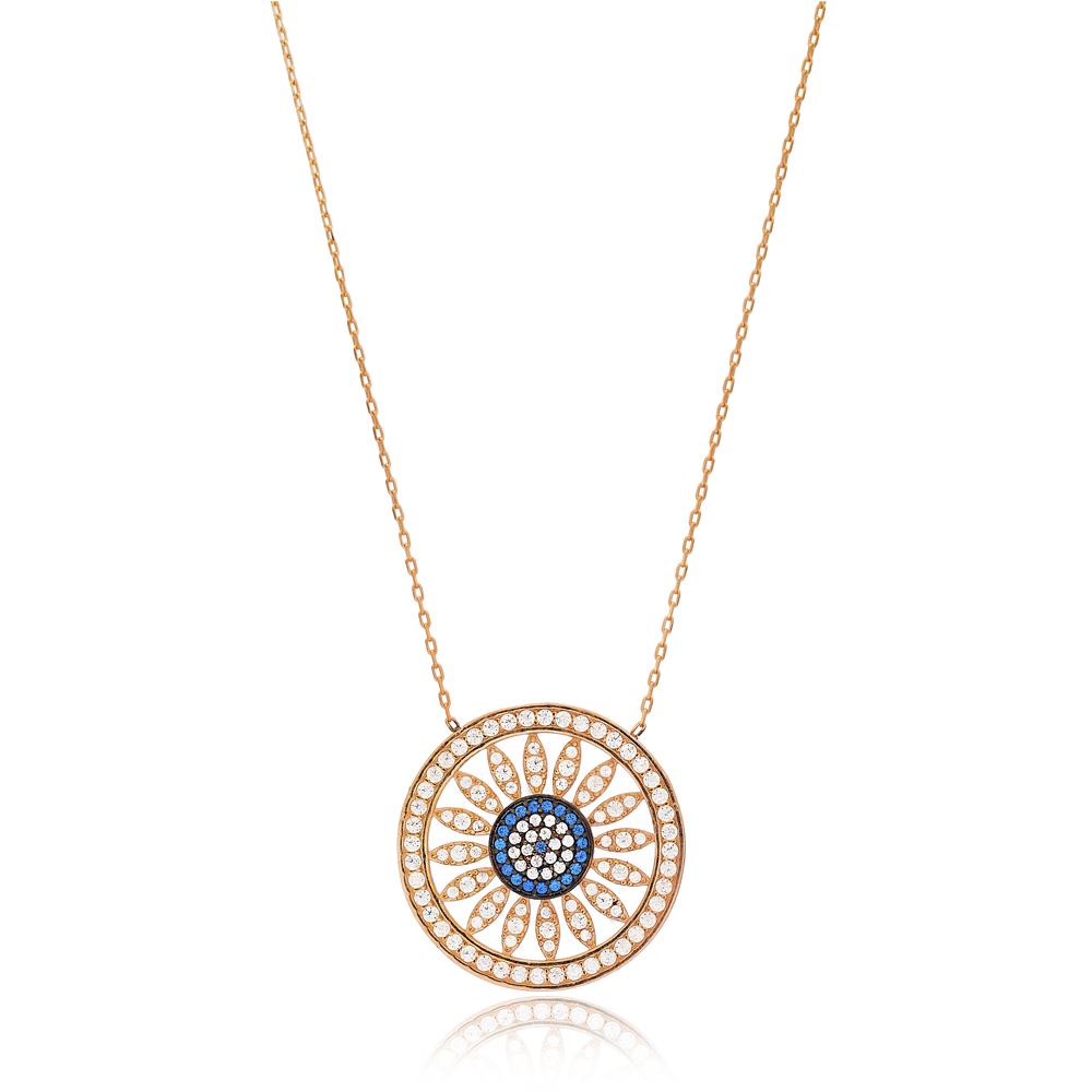 Evil Eye Pattern Design Pendant Turkish Wholesale 925 Sterling Silver Jewelry