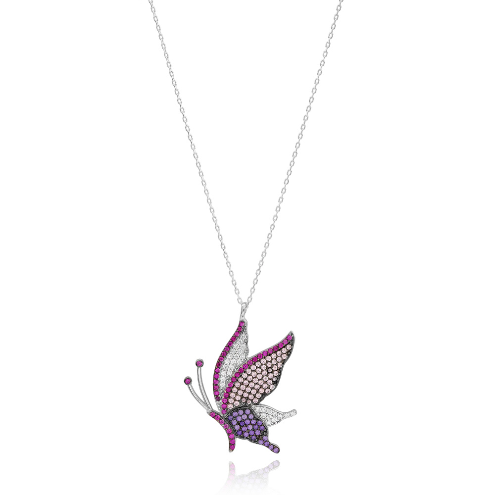 Colorful Butterfly Pendant Turkish Wholesale Handcrafted 925 Silver Jewelry