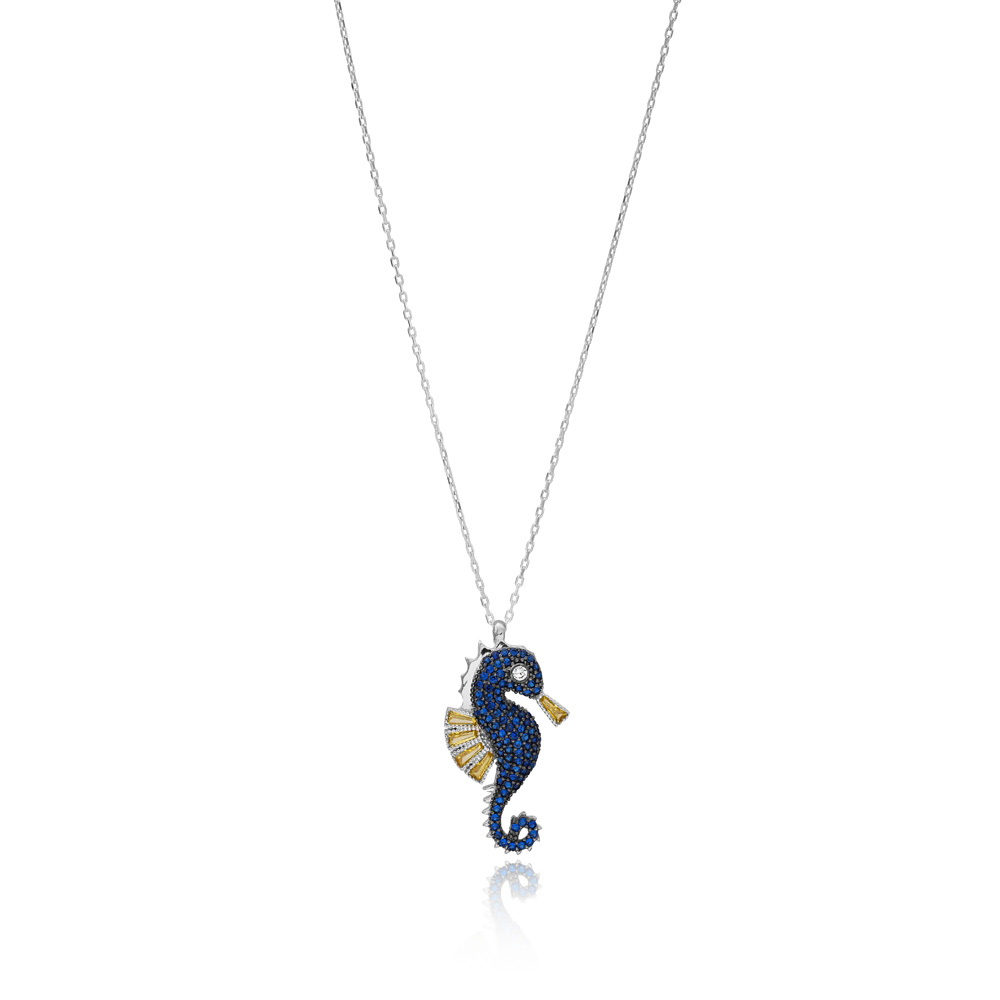 Minimal Seahorse Pendant Turkish Wholesale Handcrafted 925 Silver Jewelry