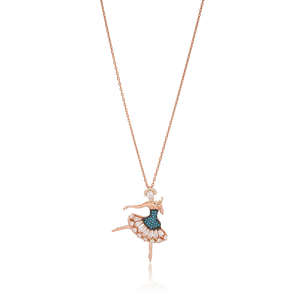 Ballet Girl Pendant Turkish Wholesale Handcrafted 925 Silver Jewelry