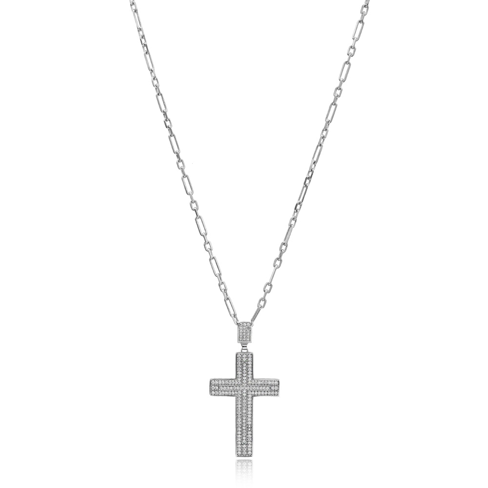 Cross Pave Zircon Design Pendant Turkish Wholesale 925 Sterling Silver