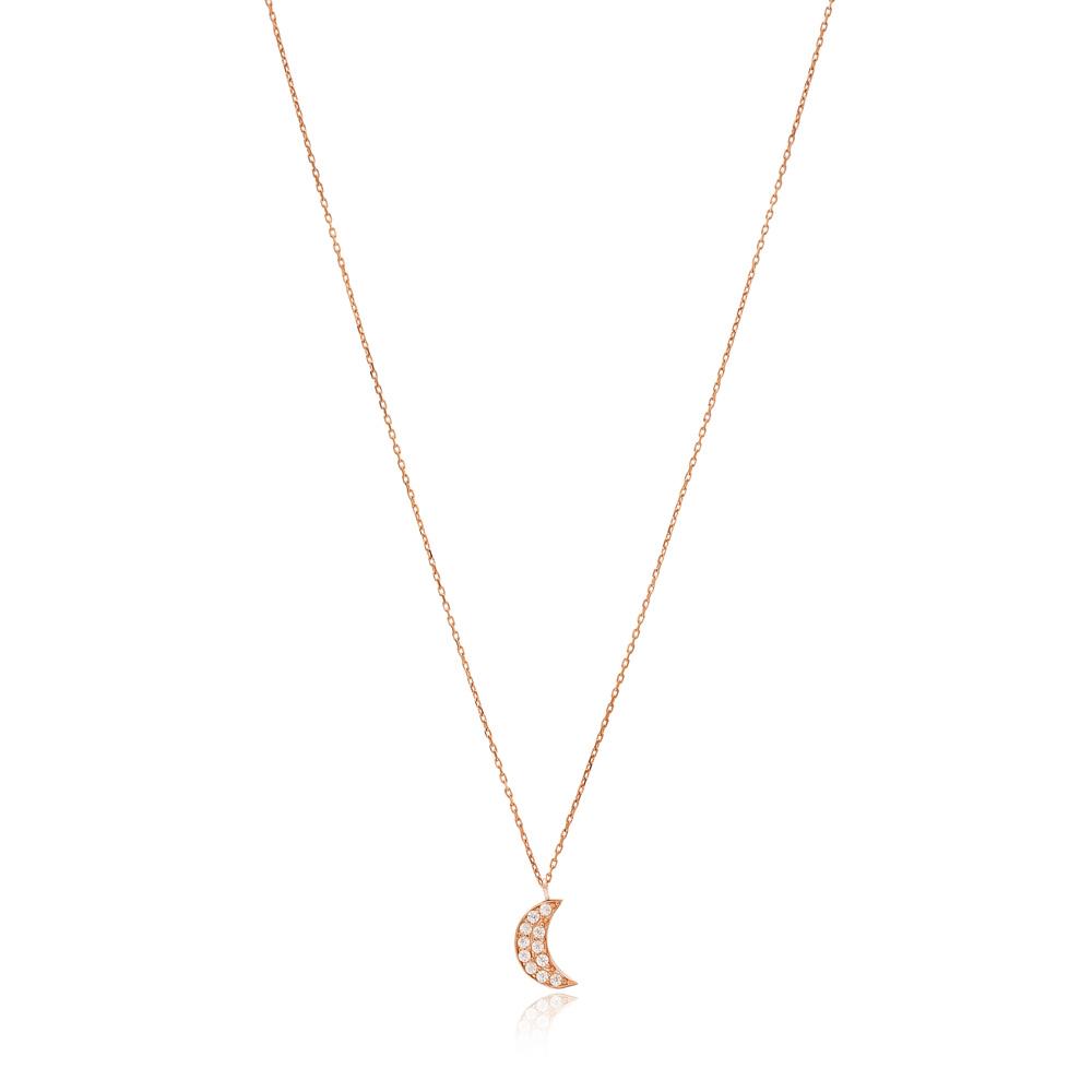 Elegant Crescent Moon Pendant Turkish Wholesale Sterling Silver Jewelry