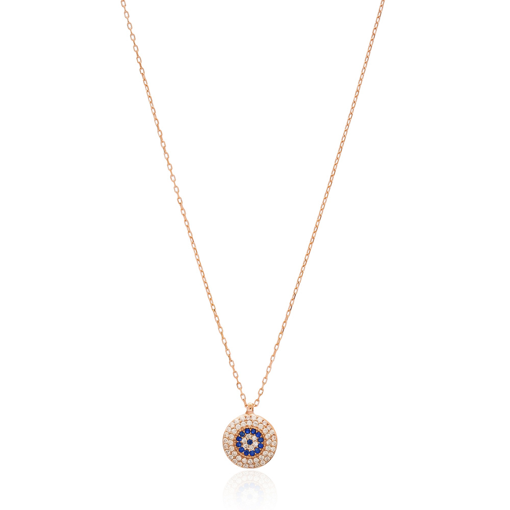 Evil Eye Rounded Pendant Turkish Wholesale Sterling Silver Jewelry