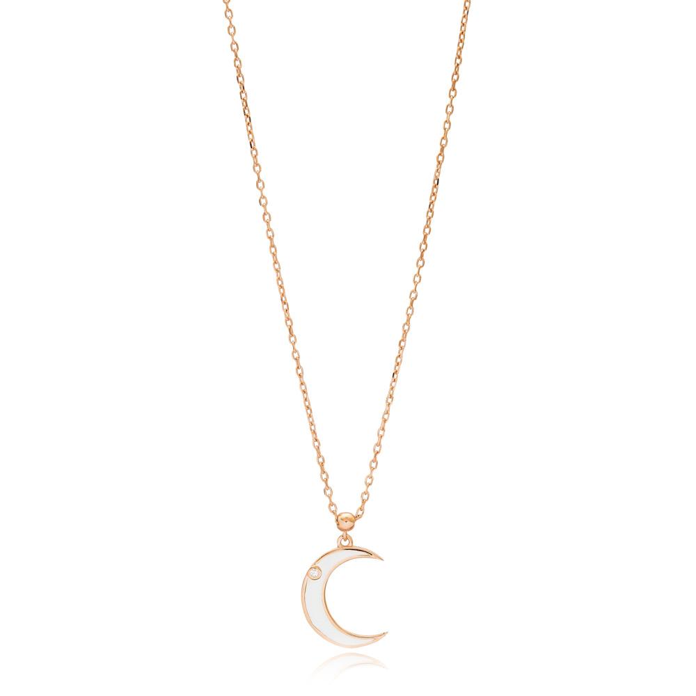 Moon Crest Design Enamel Pendant Wholesale 925 Sterling Silver Jewelry