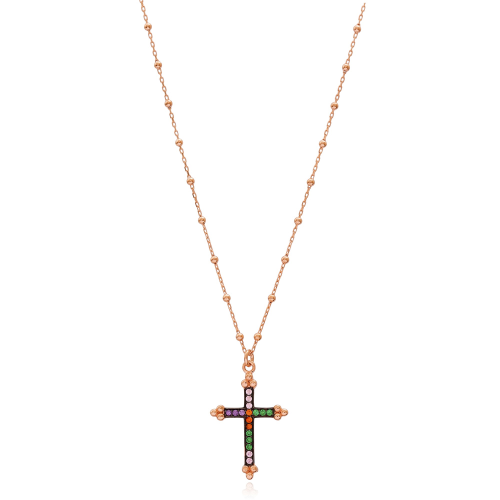 Cross Mix Stone Design Pendant Turkish Wholesale 925 Sterling Silver Jewelry