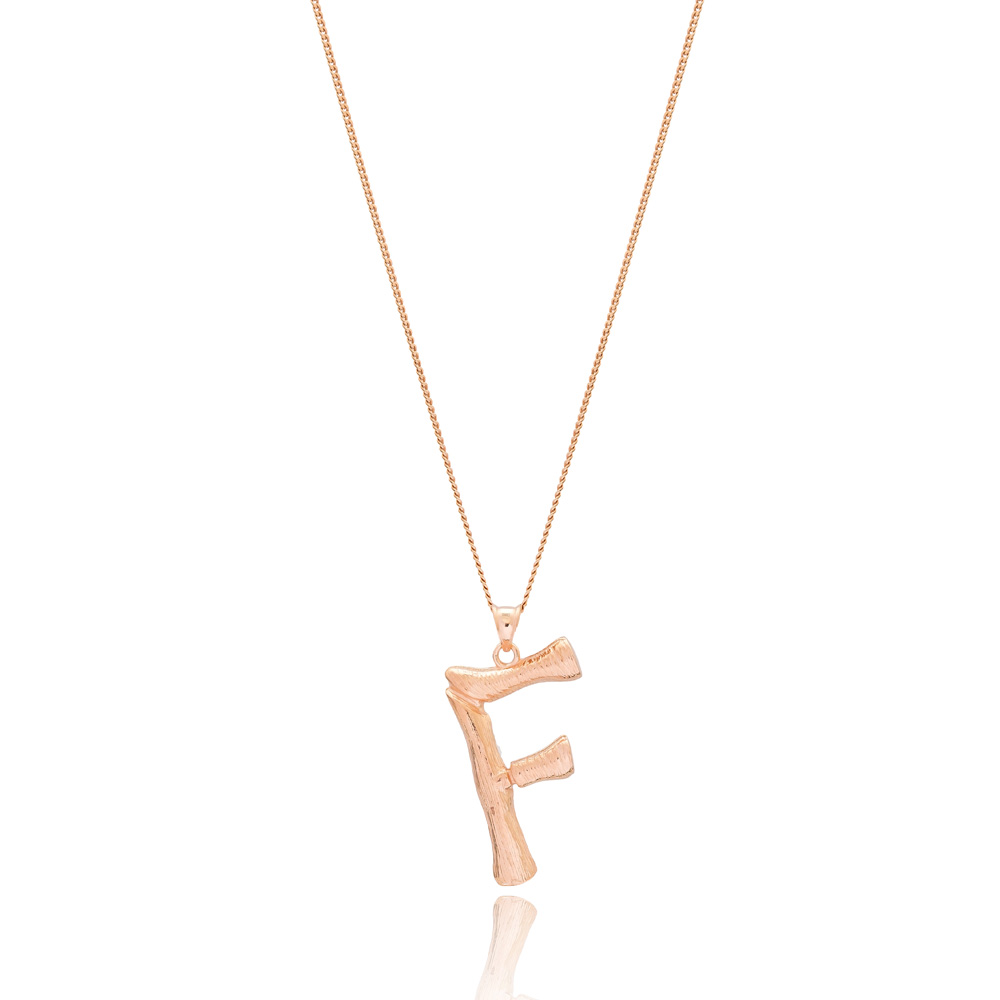 Alphabet F Letter Design Pendant Turkish Wholesale Handmade 925 Sterling Silver Jewelry